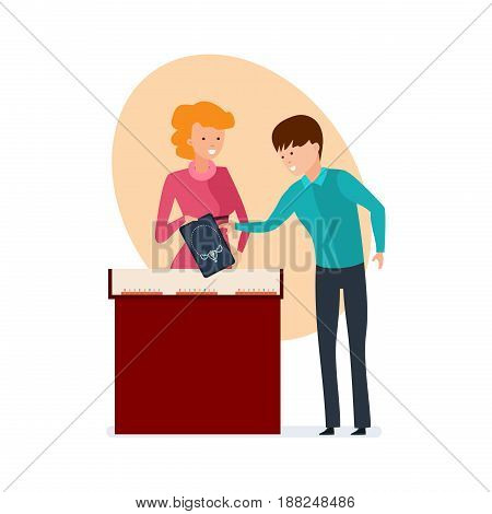 Staff set of sellers. The girl the seller of jewelry salon offers the visitor a beautiful jeweler ornament and the consultation. Modern vector illustration isolated on white background.