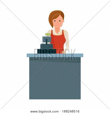 Staff set of sellers. Cashier grocery store seller behind the cash register. Modern vector illustration isolated on white background.