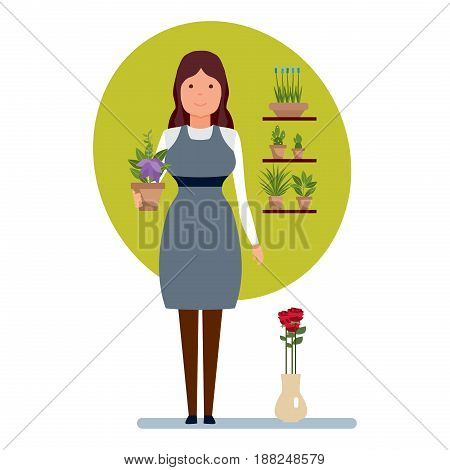 Staff set of sellers. The girl the seller in a flower shop holds in hands a pot of a flower, being near to a shelf with plants. Flower shop. Modern vector illustration isolated on white background.