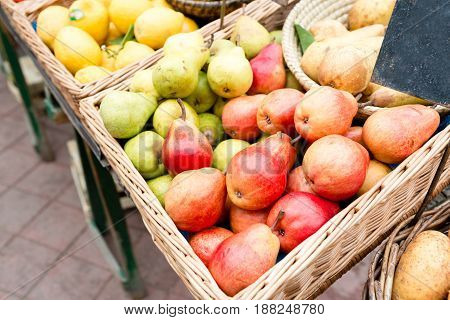 Fruit market with various colorful fresh fruits and vegetables - Market series.