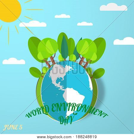 Vector greeting paper craft of World Environment Day on the gradient blue background with blue globe cutout from paper sun forest clouds shadow and text.