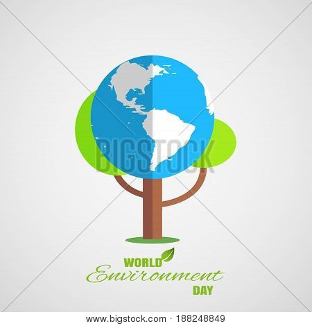 Vector greeting poster of World Environment Day on the gradient gray background with tree blue globe shadow and text.