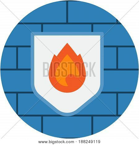 Shield Firewall Internet Security Abstract Icon.  Computer Network Internet Protection conceptual illustration isolated vector. Transparent.