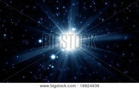 Shiny star in the night sky