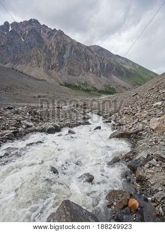 Aktru River, Altai Mountains Landscape.