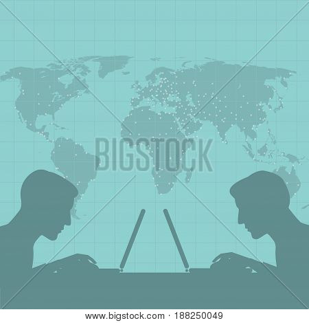 Vector illustration of a silhouette of two men on a background map of the world