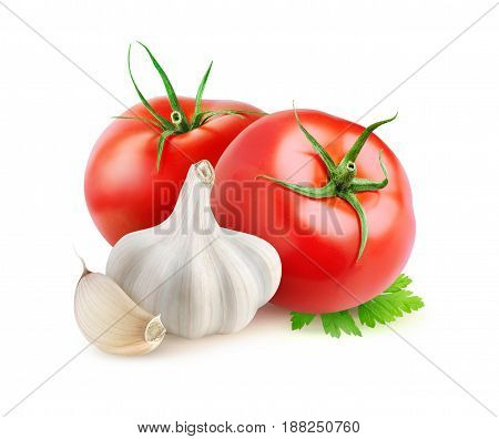 Isolated Tomatoes And Garlic