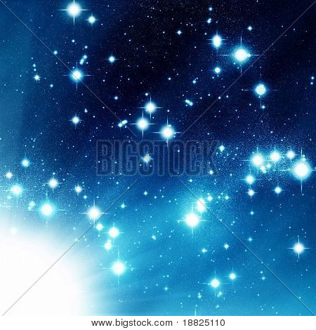Bursting star in a blue space