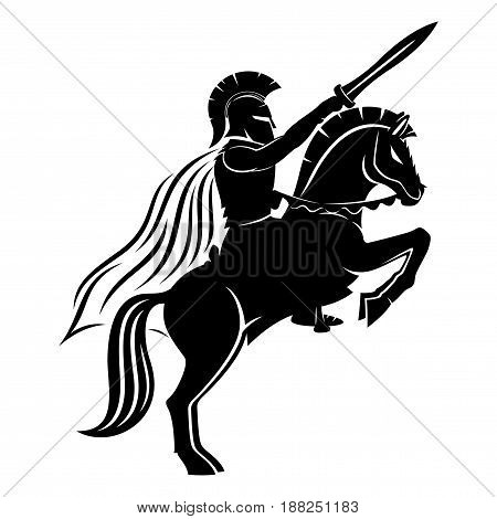 Spartan on a horse on a white background.