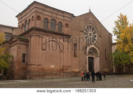 Italy Bologna - November 19 2016: the view of the historical Dominican church facade of the Basilica of San Domenico on November 19 2016 in Bologna Emilia Romagna Italy.