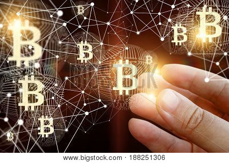 Businessman With Bitcoin In The Network.