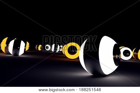 White and orange glowing glossy balls on black surface. 3D rendered image