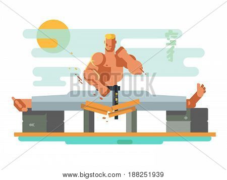 Karate character in the splits. Person young training, active sport, exercise practice, vector illustration