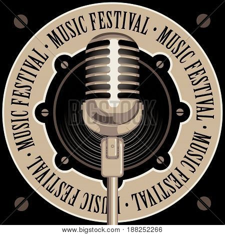 vector banner with acoustic speaker microphone and the words music festival written around on beige background