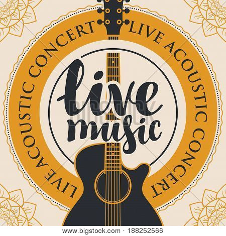 banner with acoustic guitar inscription live music and the words live acoustic concert written around with floral patterns in the corners