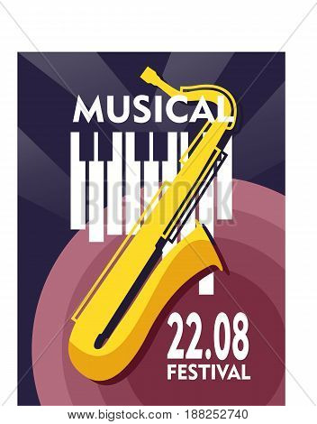 Vector illustration of a vintage poster on a jazz concert or music party