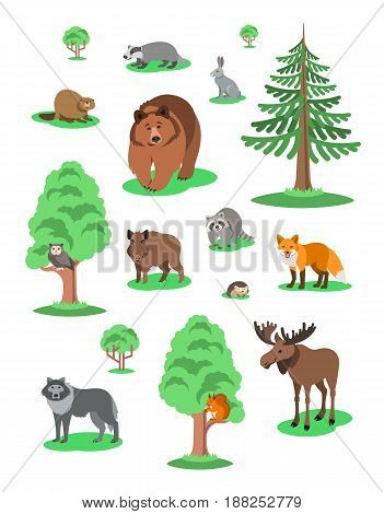 Cute smiling forest animals vector cartoon illustration. Wild zoo mammals icons for kids book. Bear fox owl hedgehog squirrel wolf elk raccoon hare badger beaver boar with green trees
