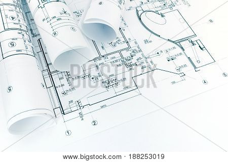 Architectural Floor Plan Drawings And Rolls Of Blueprint