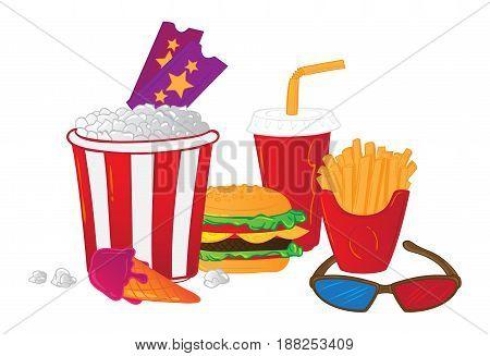 Vector Illustration Of Cinema Symbols Isolated On White Background.