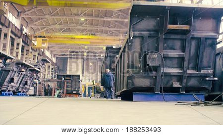 The workshop producing the bodies for trucks