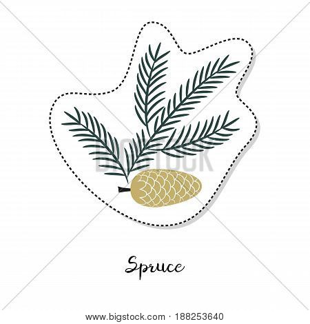 Cartoon sticker with fir branch on white background. Vector illustration.