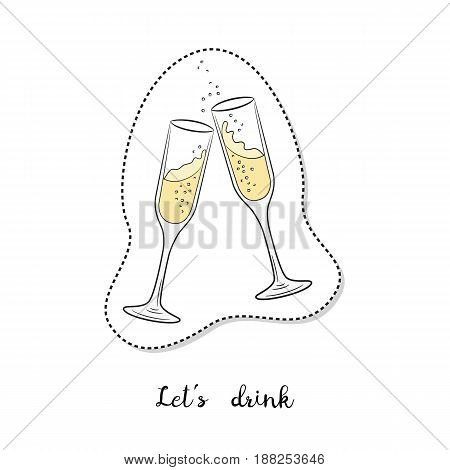 Cartoon sticker with glasses of champagne on white background. Vector illustration.