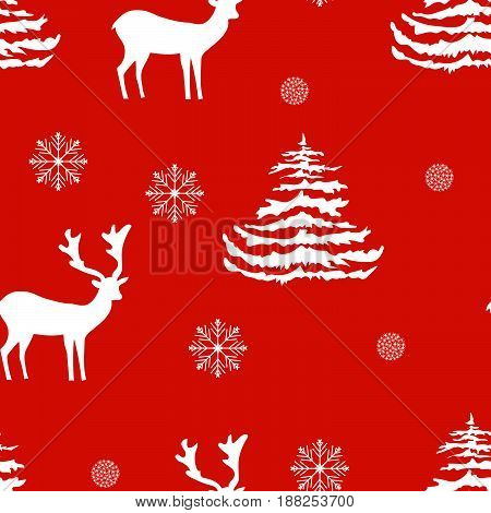 Seamless Christmas pattern hand drawn realistic reindeers fir trees snowflakes white silhouette on red background fabric wallpaper gift wrapping stationary embroidery surface design festive