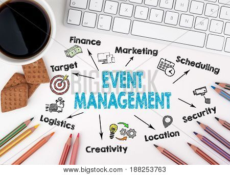 Event management concept. Computer keyboard on a white table.