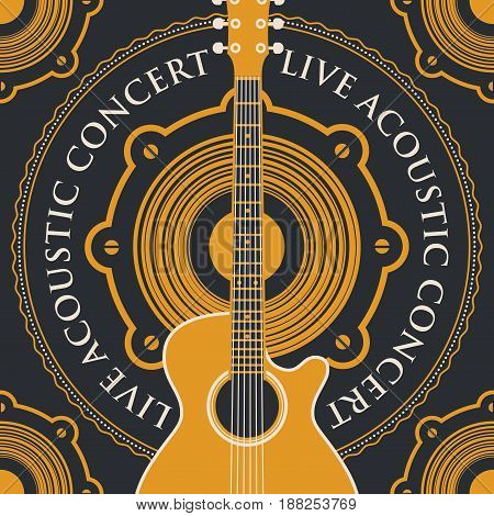 vector banner with an acoustic loudspeaker guitar and the words live acoustic concert written around on black background