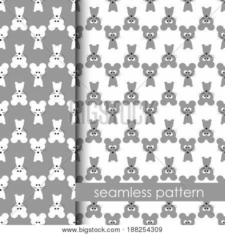set of seamless pattern with white and gray mouse. vector