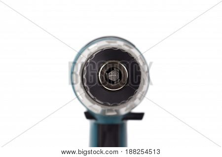 Battery screwdriver or drill isolated over white background.