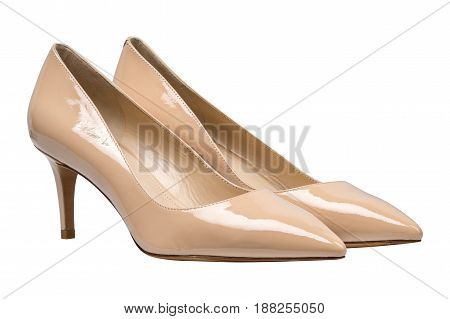 women beige lacquered glossy shoes, isolated on white background