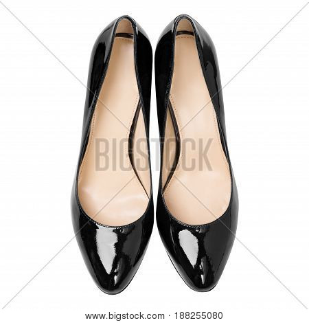 women black lacquered glossy shoes, isolated on white background