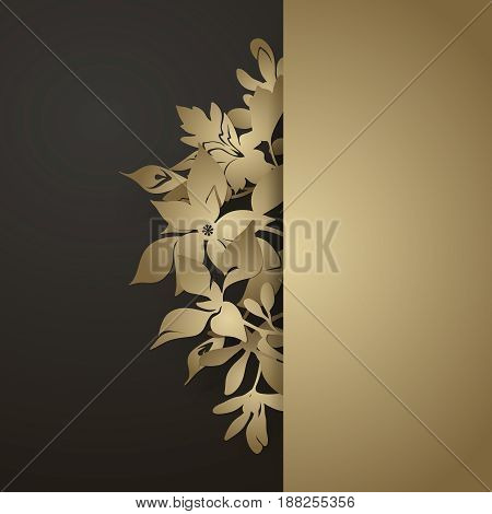Vintage template with elegant floral border in paper cut style. Wedding invitation, greeting card design. Black and gold vector background
