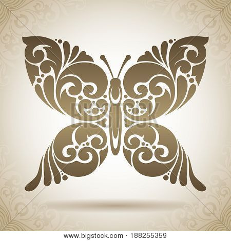 Vintage abstract Ornamental butterfly icon logo illustration isolated on pattern background