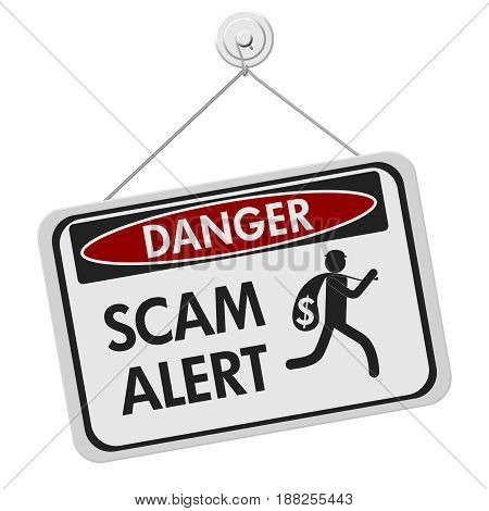 Scam alert danger sign A black and white danger hanging sign with text Scam Alert and theft icon isolated over white 3D Illustration