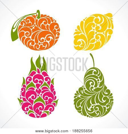 Ornamental decorative fruit symbol icons set. Emblem orange, dragon fruit, pear, lemon color vector illustration isolated on white background