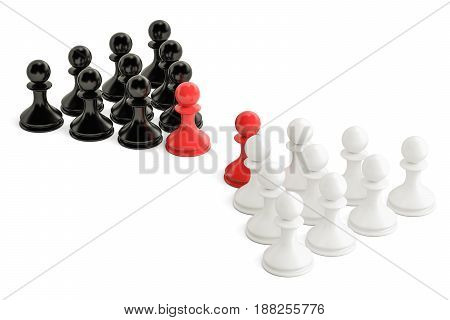 Chess confrontation and opposition concept with two leaders. 3D rendering isolated on white background