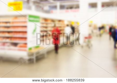 Blurred background can be an illustration to an article about shopping centers supermarkets and hypermarkets