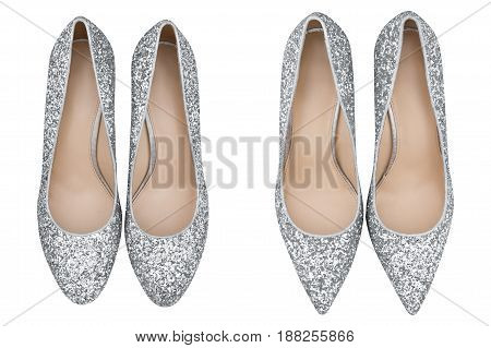 women  gray shoes with glitter, Isolated white background
