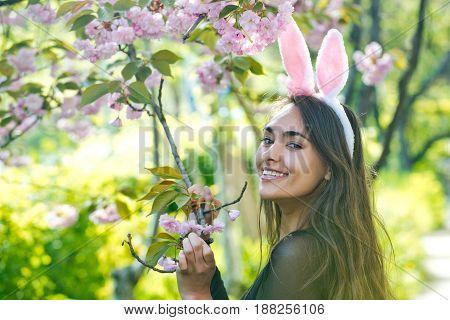easter happy woman or pretty girl with rosy bunny ears and long brunette hair smiling at tree with sakura flowers in spring park on sunny day on blurred floral environment. Easter. Springtime