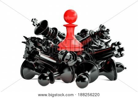 Leader and winner concept with chess figures. 3D rendering isolated on white background