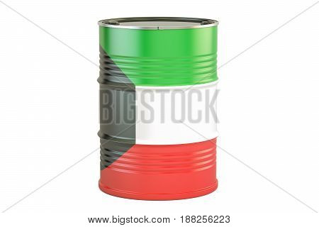Oil barrel with flag of Kuwait. Oil production and trade concept 3D rendering