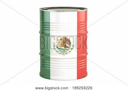 Oil barrel with flag of Mexico. Oil production and trade concept 3D rendering