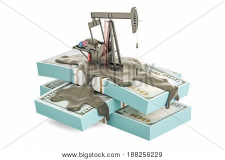 Oil production and trading concept. Oil pump jack with dollar packs 3D rendering isolated on white background
