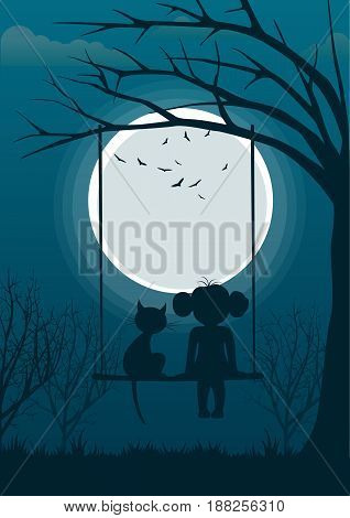 Little girl with cat sitting on a tree swing over full moon at night. Back view