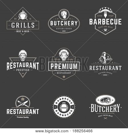 Restaurant logos templates vector objects set. Logotypes or badges Design. Trendy retro style illustration, Chef man, Barbecue, Meat Steak silhouettes.