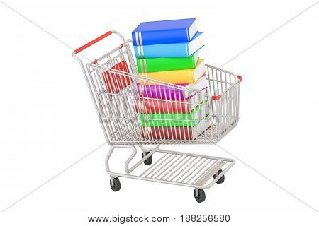 Shopping cart with books 3D rendering isolated on white background