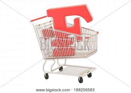 Shopping cart with franc symbol 3D rendering isolated on white background