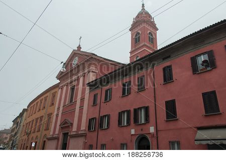 Italy Bologna - November 19 2016: the view of the Church of Saint Joseph and Saint Ignatius on November 19 2016 in Bologna Emilia Romagna Italy.
